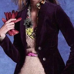 J. Crew Schoolboy velvet purple plum blazer sz 8